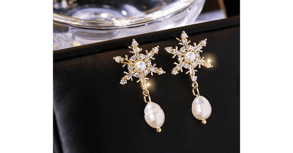 Elegant Star CZ & Freshwater Gold Pearl Dangle Earrings
