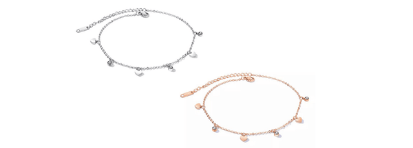 Romantic Dazzling CZ & Heart Silver or Rose Gold Charm Ankle Bracelet - Ella Moore