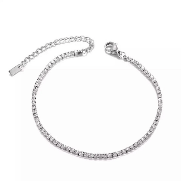 Sexy Shimmering CZ Tennis Silver Ankle Bracelet - Ella Moore