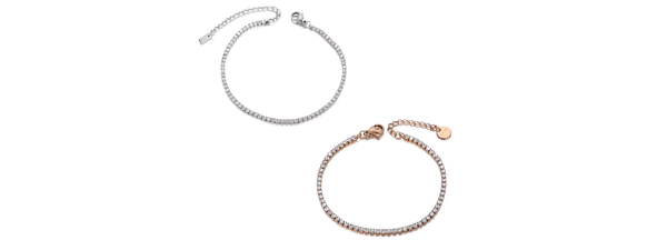 Sexy Shimmering CZ Tennis Silver or Rose Gold Ankle Bracelet