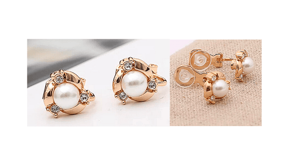 CZ Cubic Zirconia, Gold, and Pearl Clip On Earrings
