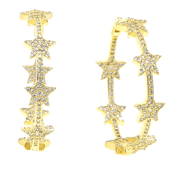 CZ cubic zirconia rhinestone Sparkle Gold Star Hoop Earrings - Ella Moore