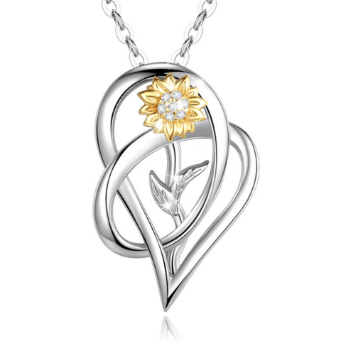Daisy  Flower Sterling Silver Heart Necklace - Ella Moore
