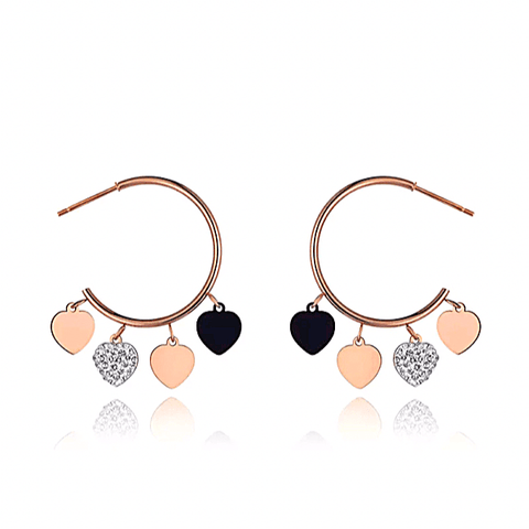 Sexy CZ Dangling Hearts Rose Gold Hoop Earrings - Ella Moore