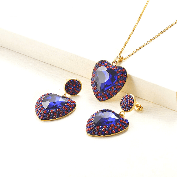 Dark Blue & Red  Brilliant Colorful CZ & Gold Heart Pendant Necklace & Earrings Set - Ella Moore