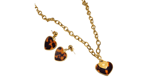 Engraved Brown Leopard Gold Heart Pendant Necklace & Earrings Set - Ella Moore