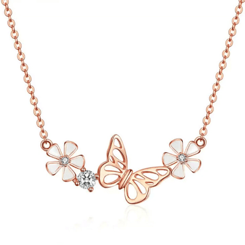 Enchanting Floral Butterfly Sterling Silver Necklace - Ella Moore
