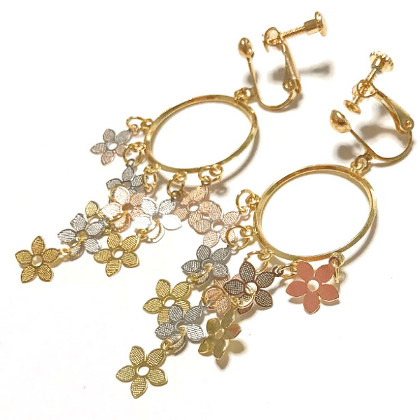 Delicate Floral Dangle Hoop Gold Clip On Earrings