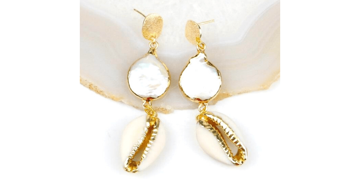 Gold, Freshwater Pearl & Cowrie Dangling Sea Shell Earrings - Ella Moore