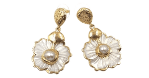 Gold Freshwater Pearl Floral Dangling Sea Shell Earrings -Ella Moore