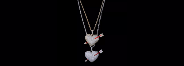 Glamorous Large Bold Sparkling Silver or Gold Heart Pendent Necklace with cupids arrow - Ella Moore