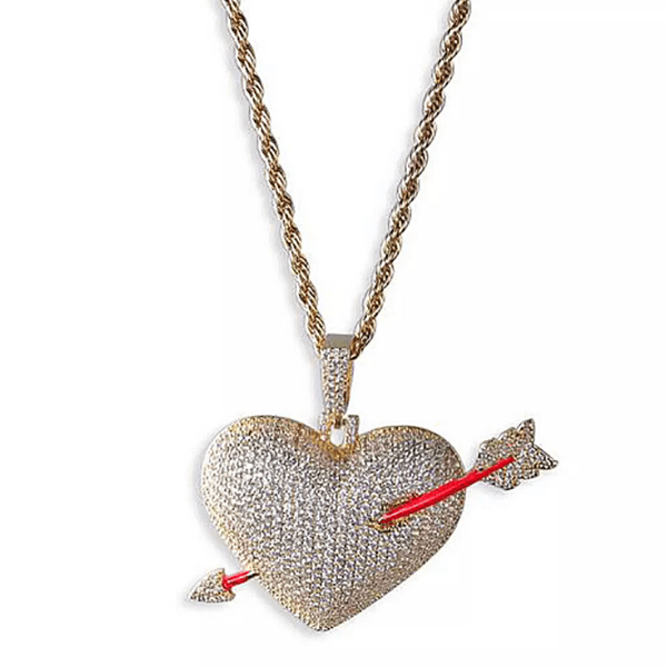 Glamorous Large Bold Sparkling Gold Heart Pendent Necklace with cupids arrow - Ella Moore