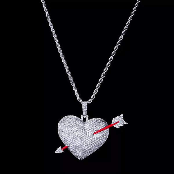 Glamorous Large Bold Sparkling Silver Heart Pendent Necklace with cupids arrow - Ella Moore