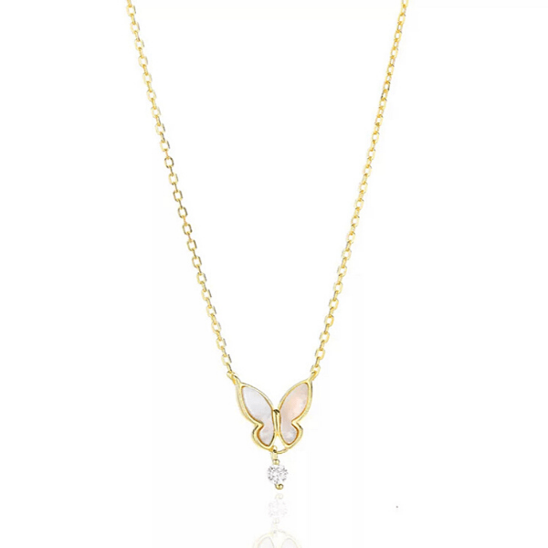Gold CZ drop Sterling Silver Butterfly Necklace - Ella Moore
