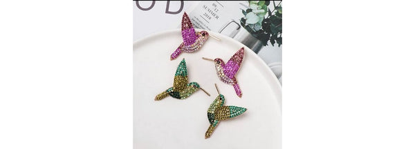 Pink & Green Shimmering Rhinestone Humming Bird Earrings - Ella Moore