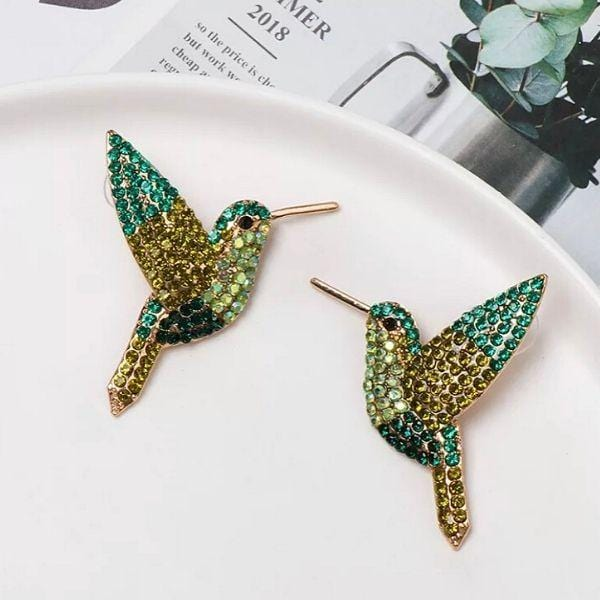 Green Shimmering Rhinestone Humming Bird Earrings - Ella Moore