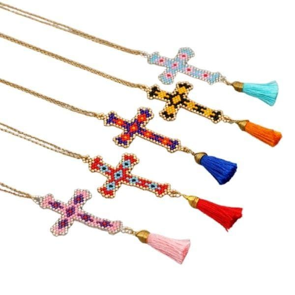 Colorful Bohemian Hand-made Mikyuki Seed Bead Gold Cross Necklace - Ella Moore
