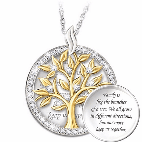 Heart-warming Family CZ Silver Tree of Life Necklace - Ella Moore