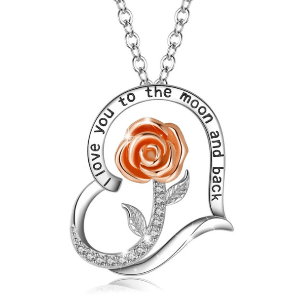 """I Love You to the Moon and Back"" Rose Sterling Silver Heart Necklace - Ella Moore"