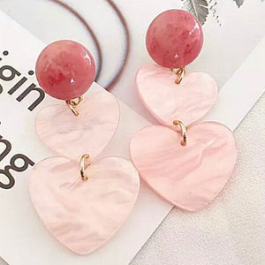 Romantic Rose Heart Dangle Clip On Earrings