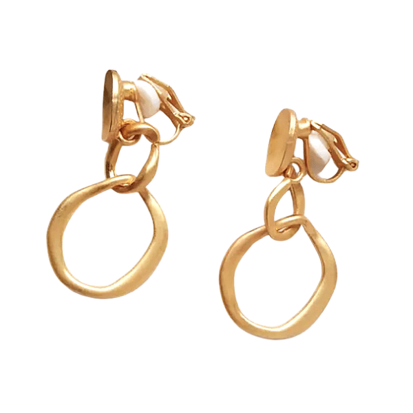 Polished Gold Chain Dangle Clip On Earrings