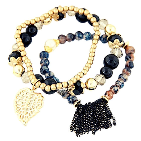 Leaf Charm Tassel Crystal Natural Stone Stretch Bead Bracelets - Multiple Colors