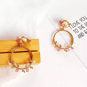 Dreamy Natural Forest Style Crystal Gold Hoop Dangle Clip On Earrings