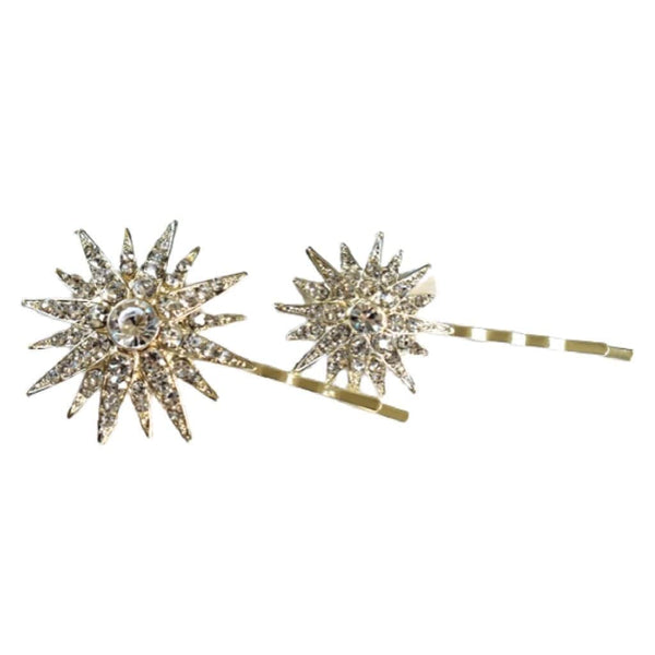 Large Sparkling Jeweled Rhinestone Star Hair Clips
