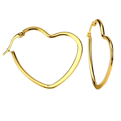 3 Piece Large Gold Heart Hoop Earrings Set