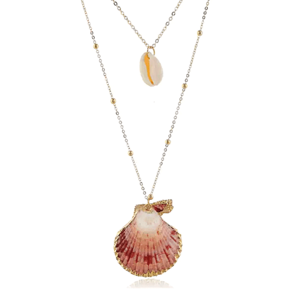 Cowrie & Scallop Seashell layered gold Necklace - Ella Moore