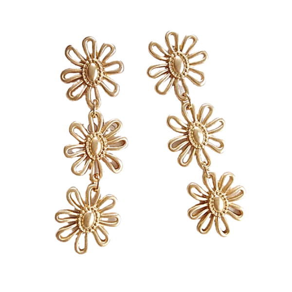 Matte Gold Flower Dangle Clip On Earrings