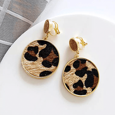Round Leopard Animal Print Dangle Gold Clip On Earrings