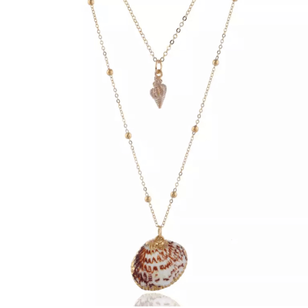 tulip and cockle seashell layered gold necklace - Ella Moore