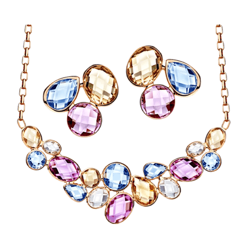 Colorful Crystal Earrings & Necklace set - Multiple Colors