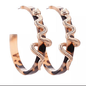 Large Wild Snake Leopard Hoop Earrings stamped