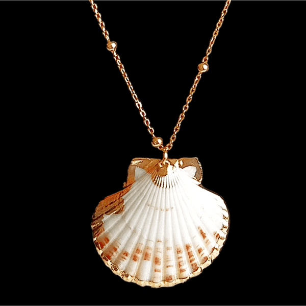 Scallop Seashell gold trim gold necklace - Ella Moore