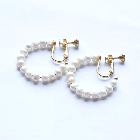 Freshwater Pearl Hoop Dangle Clip On Earrings