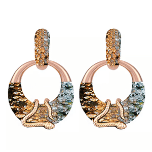 Large Bold Gold Snake Hoop Earrings - Multiple Colors