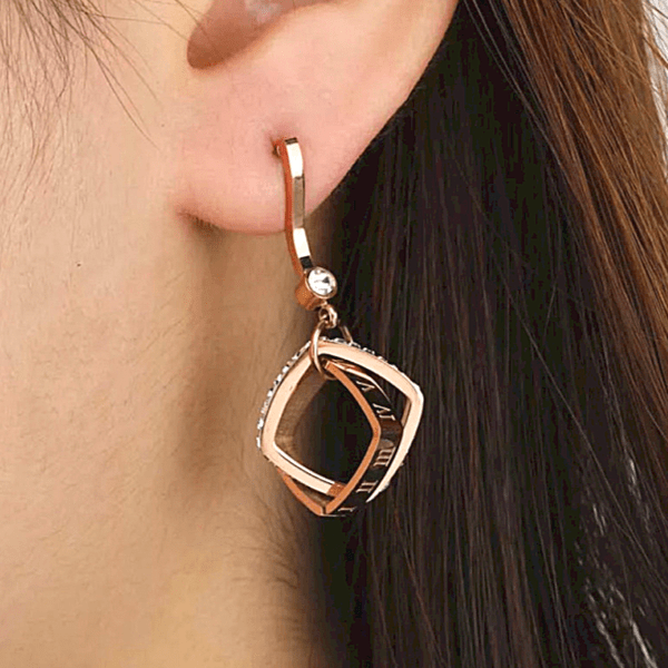 Sleek CZ Square Gold Chain Earrings - multiple colors