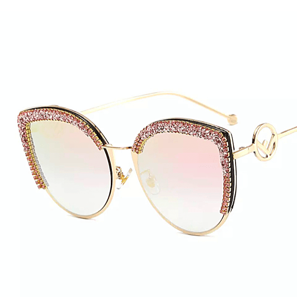 Rhinestone Cat Eye Mirror Sunglasses - Multiple Colors