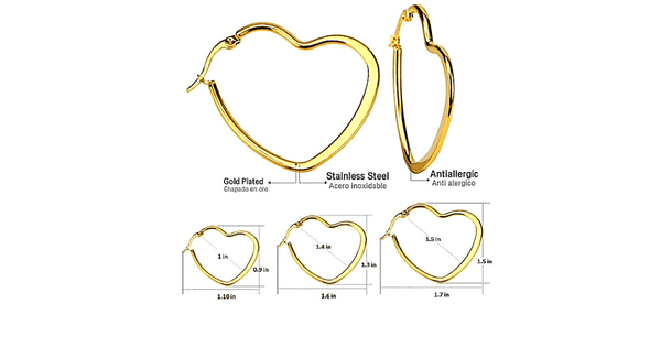 3 Piece Large Gold Heart Hoop Earrings Set - Ella Moore