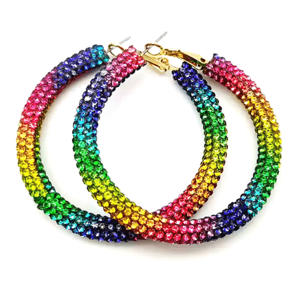 Large Rainbow Rhinestone Hoop Earrings - Ella Moore
