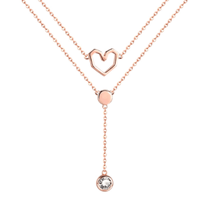 Delicate Layered CZ  & Sterling Silver Heart Necklace - Ella Moore