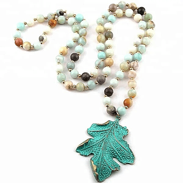 Leaf Pendent Long Amazonite Natural Stone Beaded Necklace - Ella Moore