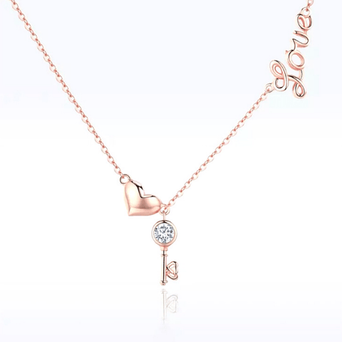 Polished dainty Love Key Heart Sterling Silver Necklace - Ella Moore