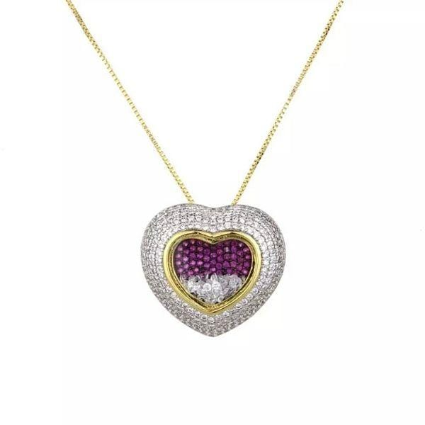 Radiantly Shimmering Micro-Inlaid CZ Gold Heart Necklace - Ella Moore