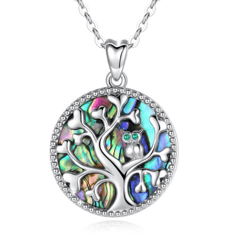Dreamy Mother of Pearl Sterling Silver Tree of Life Necklace