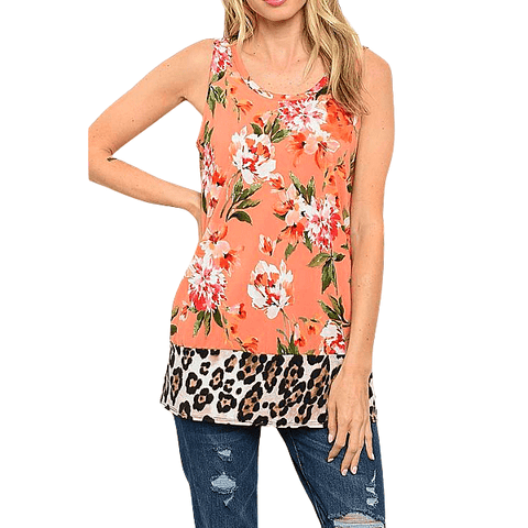 Sexy Peach Floral and Leopard Open Back Women Sleeveless Top
