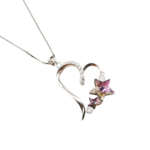 Stunning Pink Austrian Crystal Star Sterling Silver Heart Necklace - Ella Moore