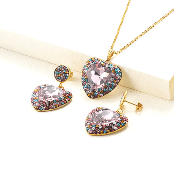 Pink  Brilliant Colorful CZ & Gold Heart Pendant Necklace & Earrings Set - Ella Moore